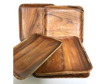 Large Square Plates -- Square Wood Plates -- Wood Square Plates -- Large Wood Square Plates -- Wooden Plates -- Set of Six Plates