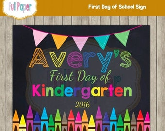 First day of Kindergarten First Day of School Sign - First day of Preschool - First day of school chalkboard sign - First day of school