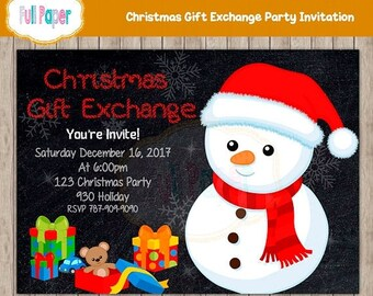 Christmas, Gift Exchange, Party Invitation Christmas Party, Snowman Invitation, Christmas Invitation, Holiday Party, Party Invitation