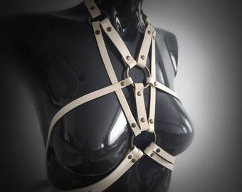 Leather Harness | Leather Chest Harness | body harness | bodycage | Mature | bondage | steampunk | goth | bdsm | white harness women