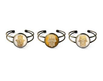 Hamsa Cuff Bracelet Set | Hamsa Bracelet Hamsa Jewelry Bohemian Jewelry Boho Bracelet Hand of Fatima Evil Eye Protection Bracelet Gold Hamsa