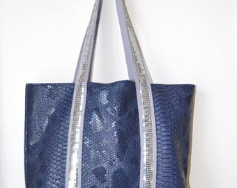 BAG FAUX CROC BLUE WITH GLITTER SILVER (SEQUINS)