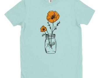 California Poppy Mason T-Shirt, State Flower, Wildflower T-Shirt