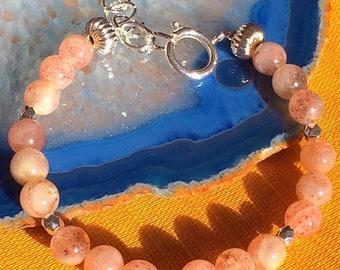 Sale Sterling silver Natural Stone STRAWBERRY Quartz Lepidocrocite Beaded Bracelet GENUINE Stone Bracelet Boho Chic Natural Stone Bracelet