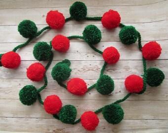 Christmas Garland, Red Green Pom-pom Garland Christmas home decor, Christmas Gift, Christmas tree decoration, Christmas Wall decoration