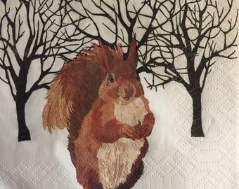 "3 Decoupage Napkins, Winter Squirrel in SNow, 10"" x 10"""