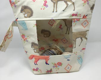 Knitting and Crochet Project Bag - Mega Peekaboo - forest friends on cream