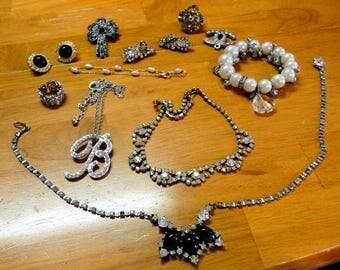 Vintage Rhinestone Jewelry Lot BOFOFF Rhinestone Choker Necklace 925 Sterling Silver Ring Size 6 Faux Pearls AB Rhinestone Choker