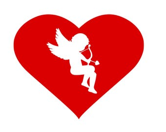 Cupid in the Middle svg,dxf,png,eps,jpg,and pdf files,Valentines Day Designs,Valentine svg files, dxf files,Cupid Valentines Designs