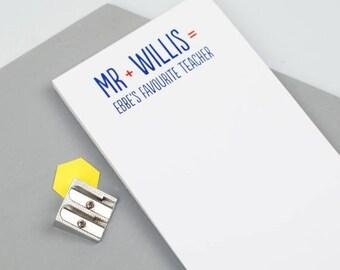 SUMMER SALE Favourite Teacher Notepad - Personalized Notepad - Personalized Paper Pad - Custom To Do List - Custom Paper Pad - Back To Schoo