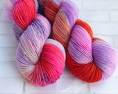 Lola - Variegated Hand Dyed Yarn - Merino Nylon - Fernleigh Sock Yarn - 4 Ply - Fingering Yarn -Hand Dyed Sock Yarn -Pink Orange Purple Yarn