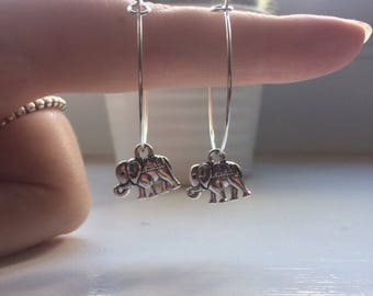 Lucky elephant hoop earrings