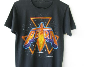 Petra 'God gave Rock and Roll to You' 1985 Tour Concert Vintage T-Shirt Christian Hair 80s Metal Screen Stars Small Black