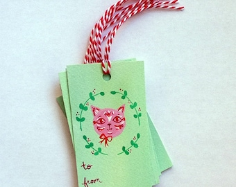 Hand Painted Cat Christmas Gift Tags