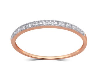 10k Rose Gold 0.05ct TDW Diamond Accent Wedding Band