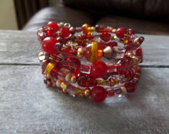 Red and Gold Wrap Bracelets with Glass Beads, Adjustable Memory Wire Bracelet