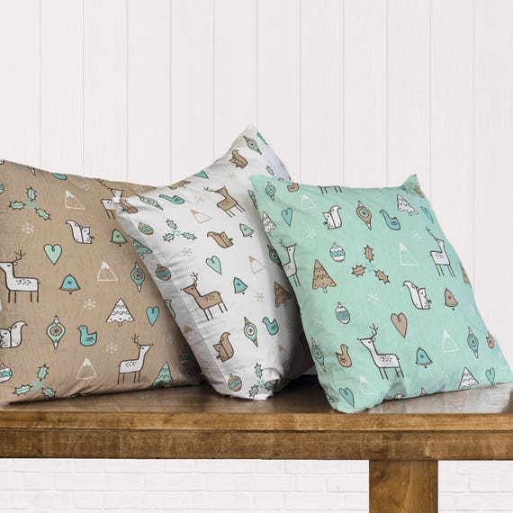 Christmas Reindeer and Trees Pillow - Choose from Pillow Cover or Filled Pillow - Available in 3 Styles and 2 Different Fabrics