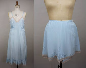 1940s Slip and Tap Pants Set / 1940s Matching Lingerie Set / 40s Panties / 40s Blue Rayon Slip  / Tap Pants / Size Large / L XL