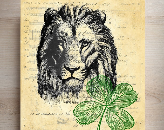 Lion Green Clover vintage image on choice of reproduction antique paper wall decor gift LGC8847