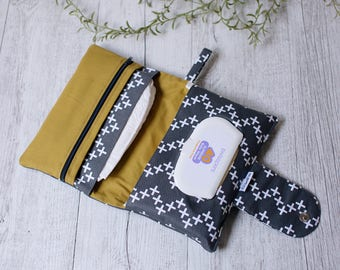 Grey and mustard nappy clutch, diaper bag, nappy bag, diaper wallet, baby shower gift, unisex baby gift