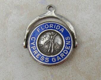 Cypress Gardens Florida Spinner Enamel Vintage Sterling Silver Bracelet Charm