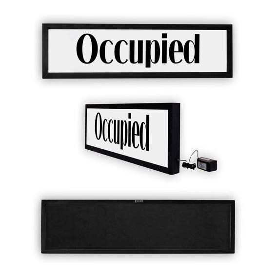 Occupied bathroom sign