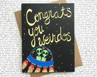Funny Wedding Card, Funny Engagement Card, Congratulations Wedding Card, Funny Anniversary Card, Aliens Card, Funny Happy Anniversary Card