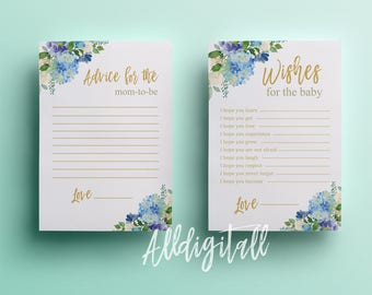 Floral wishes for the baby botanical baby shower printable games instant download gold advice for mom shower party printable blue flowers