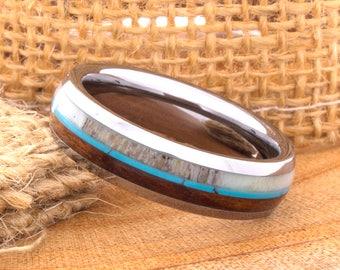 Tungsten Ring Tungsten Wedding Ring Band Deer Antler Ring Men Women Wedding Band Wood Turquoise Anniversary Dome 6mm Matching Ring Set New