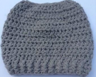 Crochet Bamboo Messy Bun Hat