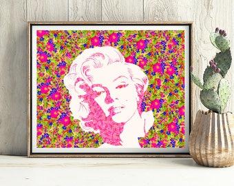 Instant Download, Marilyn Monroe, Floral, Floral print, 1950s, Pink, Print, Art print, Marilyn, Beauty Giclee print Floral art print Digital
