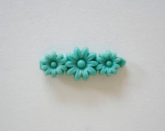 Vintage Green Flower Barrette - Mini Hair Clip Bobby Pin - Pin up Retro Hair Accessories