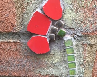 Poppy Wall Art, Mosaic Poppy, Garden Art Mosaic . Mosaic flower for outside wall, Unique gift.