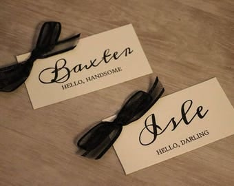 """Wedding Place Card with Bow, Tented Place Card - 3 x 4"""""""