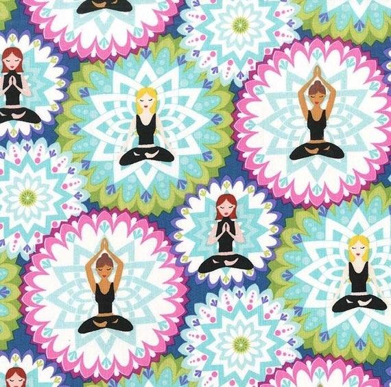 Yoga fabric yoga poses on blue fabric mandala lotus for Celestial fleece fabric
