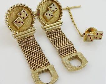 Casino Dice Vintage Swank Wrap Cufflinks Set with Tack