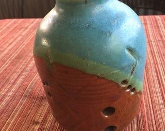Art Pottery,Hippie Vase,Hippie Art Vase,Pottery Vase,Artisan Vase,Rustic Art Vase,Pierce Vase,Rustic Blue Vase,Rustic Pottery Vase,