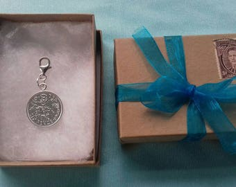Bridal lucky silver sixpence charm ( 1953 - 1967 QE II)