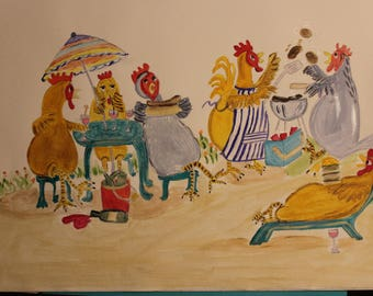 Whimsical drawing - Acrylic - Chicken's Brunch - 29.7 x 42 cms