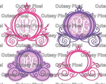 Princess Carriage Monogram Frames Svg cutting file, Cinderella SVG, DXF, Cricut Designs, Silhouette Studio,Digital Cut Files