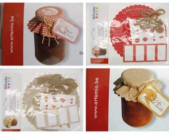 Décorations pour pots de confiture personnalisation rouge ou beige par 4 pcs Artemio Cuisine Gourmandise Home déco