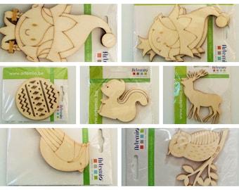 3 supports bois à décorer Artemio DIY Home déco Loisirs créatifs Noël Lutin Oiseau Cerf Écureuil Hibou Chouette Animal Boule sapin