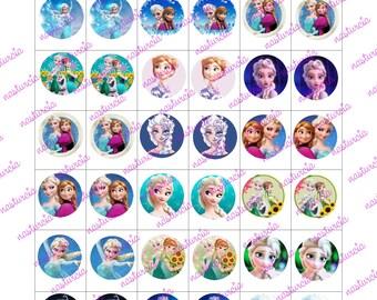 Frozen bottle cap images cabochon images 16 mm printable images instant download
