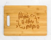Home is Where Mom Is Cutting Board with Handle - Bamboo Cutting Board, Wooden Christmas Gift, Mother's Day, Mom Gift