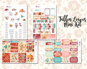 Fallen Leaves Mini Kit - Autumn/Fall Weekly Sticker Kit. Planner stickers for ECLP, Happy Planner, Personal Planner, TN etc