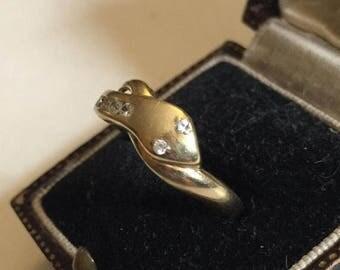 Summer sale Vintage Gold Snake Ring, 9 Carat. Design piece.