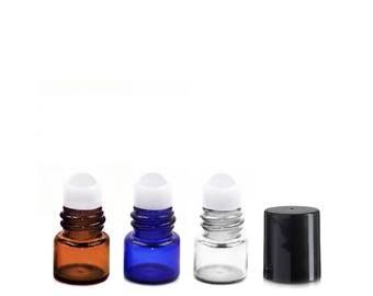 Lot of 36 (0.5ml) Glass Roll On Bottles Black Cap Mini 15x19mm Essential Oil Lip Gloss Perfume - Cobalt Blue Amber Clear Roller Vials .5ml