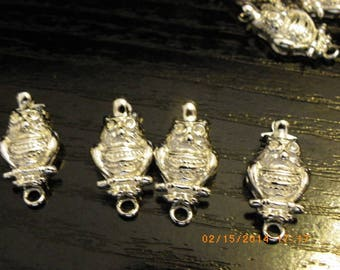 4 clasps OWL silver 20 mm x 17