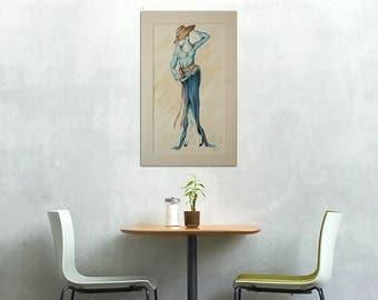 Fashion Illustration, Lady Drawing, Fashion Drawing, Pencil and Ink Drawing, Original Drawing, Original Artwork, Figure Drawing, La Lune