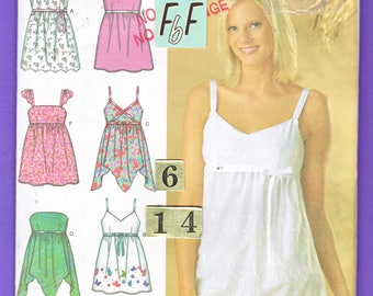 Loose Empire Waist Spaghetti Strap top Sewing Pattern/ Simplicity 4127 Women's Handkerchief Strapless Summer top UnCut/ Size 6 8 10 12 14